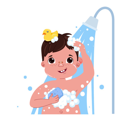 Little child boy character take a shower. Daily routine. Isolated without background. Vector cartoon illustration Çizim