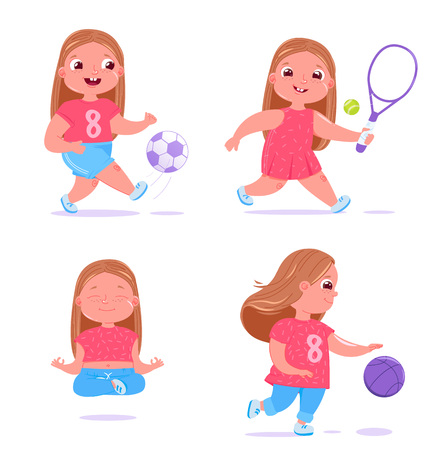 Cute baby girl is engaged in different type of sports. She plays football, basketball with ball, meditates and does yoga and also deals in tennis. Daily healthy routine.  Vector cartoon illustration