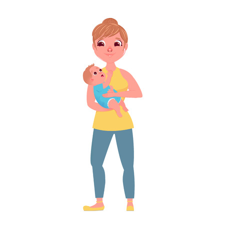 The mother's character with a small child in hugs. Love from mom to baby. Vector cartoon character