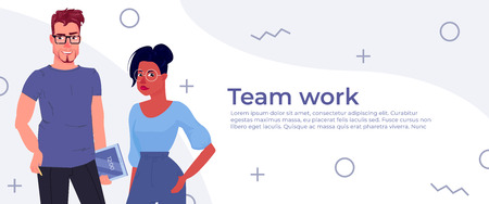 Business people team work banner. The developer and manager of the characters will present the design app. Vector cartoon illustration Illustration