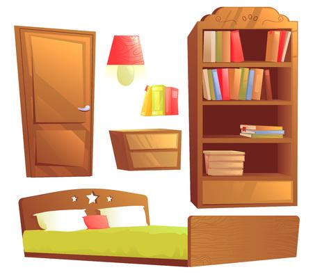 Modern furniture for bedroom interior design. Vector cartoon illustration set Ilustración de vector