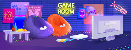 Teen game room interior. Play video games on the console with comfortable armchairs and snacks for gamers. Vector cartoon illustration