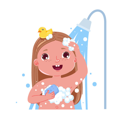 Little child girl character take a shower. Daily routine. Isolated without background. Vector cartoon illustration Vettoriali