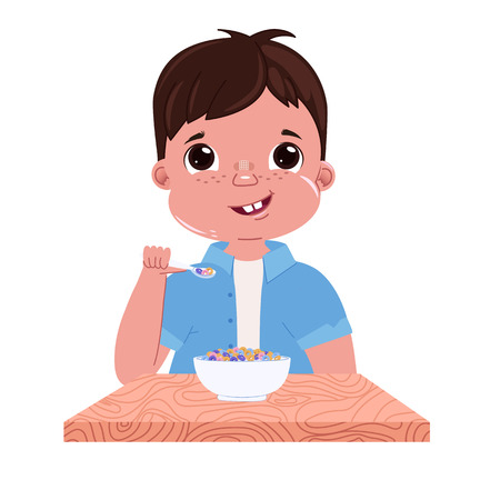 A baby boy eats breakfast in the morning. Sweet dish colorful corn flakes with milk. Outside the window is a  day and the sun. Vector cartoon illustration