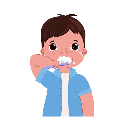 Cute baby boy brushing her teeth in the morning. Daily routine. Dental hygiene. Vector cartoon illustration Illustration