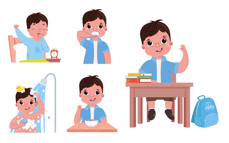 The daily routine of the child is a boy. Going back to school. Wake up and brushes teeth, takes a shower and eat has breakfast. Vector cartoon illustration