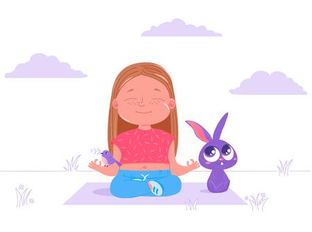 Linda niña está haciendo yoga al aire libre en el césped con amigos animales conejo y pájaro. Deporte vida sana. Asana básica más popular. Ilustración de dibujos animados de vector