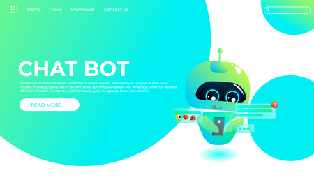 Online assistant bot landing page template. Technical support design  for web page. Virtual help website. Chatbot look on phone with message. Vector cartoon illustration