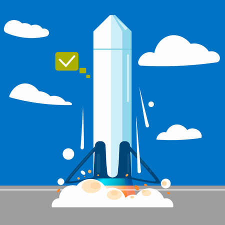 Launching a rocket at a station. Vector flat illustration Illustration