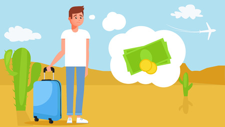 The guy on the travel without money. View of the desert with a departing plane. Vector flat illustration