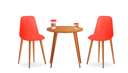Two chairs with and drink cup on wood table. Cafe for meet and talk. Modern furniture for house or shop. Vector cartoon illustration Illustration
