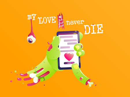 The hand of a zombie with a bone and blood send a love message. Funny valentine. My love will never die. Vector cartoon illustration 向量圖像
