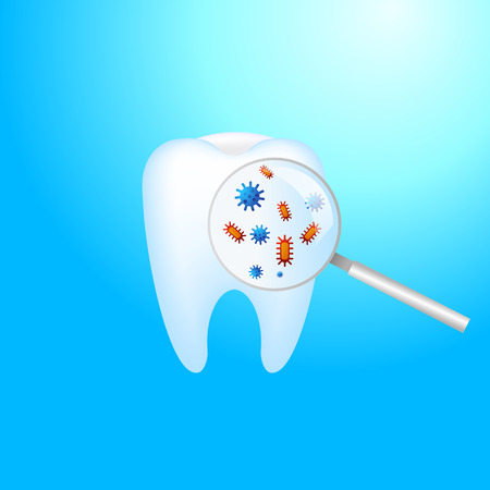 Toothache. A tooth with dental caries and pain. Protection against bacteria on the magnifying glass Vector realistic illustration Illustration