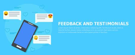 Banner di feedback e testimonianze. Telefono con recensioni, emoticon e commenti. Illustrazione piatta vettoriale