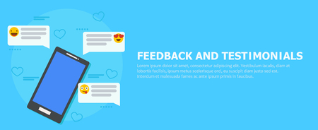 Feedback and testimonials banner. Phone with reviews, emoticons and comments. Vector flat illustration