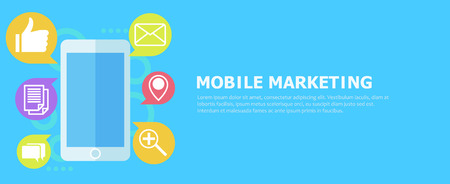Mobile Marketing banner. Phone with icon  mail. Vector flat illustration Illustration