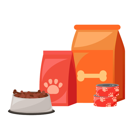 Pet food. Food for cats and dogs. Bowl, Packaging, Advertising. Vector flat illustration Ilustração