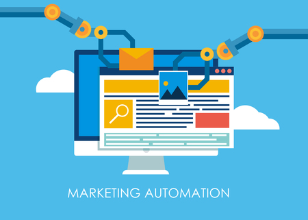 Marketing-Automatisierung. Computer mit einer Site, die die Hände des Roboters baut. Flache Vektorgrafik