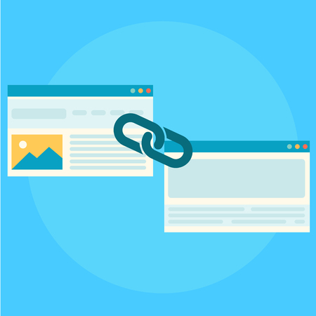 Création de liens pour la bannière de référencement. Deux pages sont reliées par une chaîne. Télévision illustration vectorielle