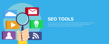 Seo tools banner. Hand with magnifier and icons with tools. Vector flat illustration