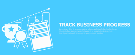 Track business progress banner. Vector flat illustration