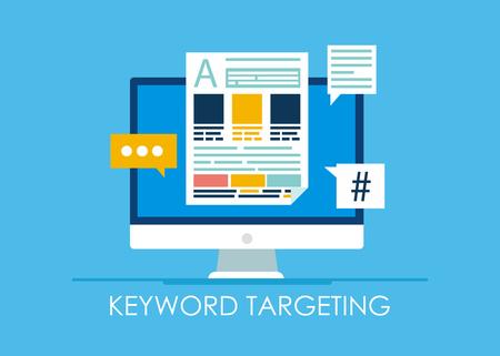 Banner di targeting per parole chiave. Computer con testo e icone. Illustrazione piatta vettoriale