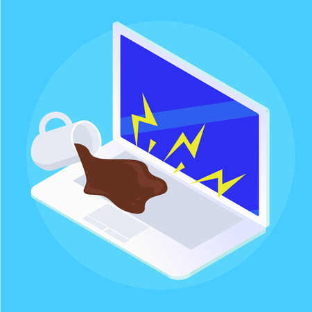 Spilled puddle coffee on laptop. Repair of broken equipment. Vector flat isometric illustration