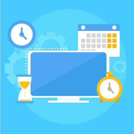 Time management banner. Computer, calendar, alarm clock, hourglass. Vector flat illustration