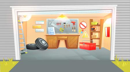 Das Innere der Garage. Arbeitsplatz des Meisters bei der Autoreparatur mit Arbeitswerkzeugen.