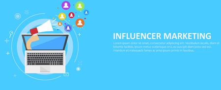 Influencer marketing banner. From the computer comes out a hand with a megaphone, calling users. Vector flat illustration Çizim