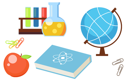 Set from school objects. Apple, globe, test tubes, book, science, clip. Vector flat illustration