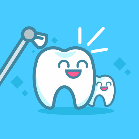 Dentistry Banners Cleaning Teeth. Cute kawaii characters. Vector flat illustration Stock Vector - 112414769