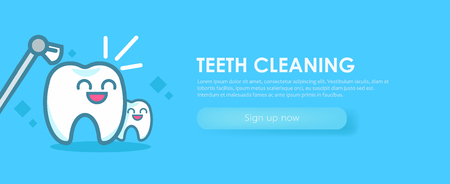 Dentistry Banners Cleaning Teeth. Cute kawaii characters. Vector flat illustration Stock Vector - 112416724