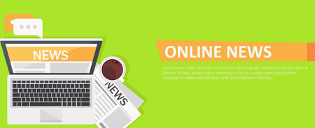 Banner online news. Computer, coffee, newspaper. Vector flat illustration