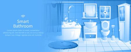Smart bathroom design banner. Interior home IOT ads. Vector cartoon illustration