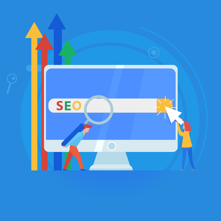 Seo banner. Work on the content of the site and its indexing of search engines. Team work on the website. Vector flat illustration Ilustração
