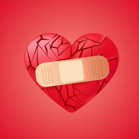 Broken heart sealed with medical bandage. Red glass shards . Vector realistic illustration