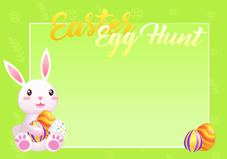 Easter greeting card with place for text and bunny. Egg hunt frame for photos. Cute rabbit congratulates on the holiday