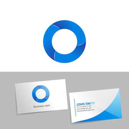 Gradient logo with the letter O of the logo. Mockup business card on white background. The concept of technology element design.  illustration