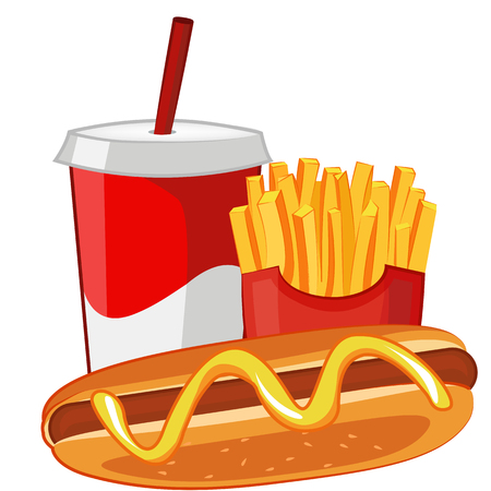Hot dog, French fries and soda. Vector realistic illustration