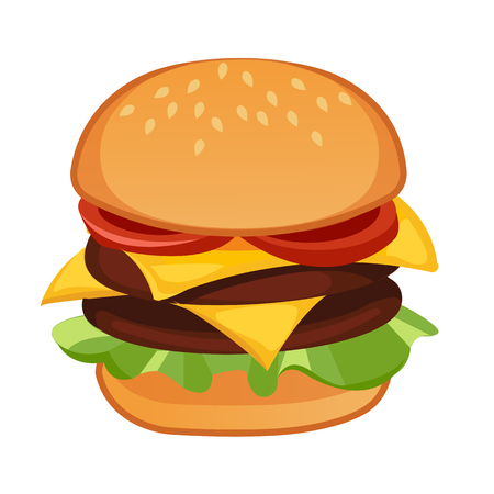 Double meat hamburger. Vector realistic illustration
