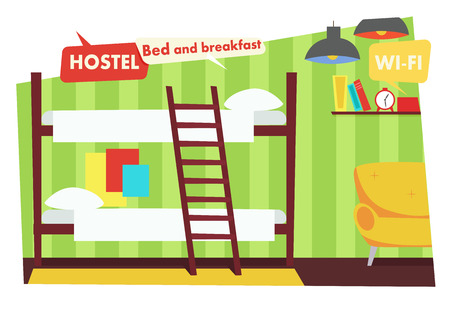 Habitación en Hostel. Cama y desayuno. Ilustración vectorial plana Ilustración de vector