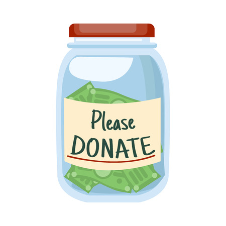 Glass jar with money and text Please DONATE