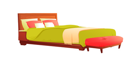 Cama de madera con manta verde y almohada roja