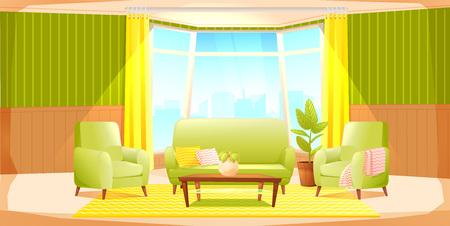 Banner de diseño de interiores de casa de sala de estar clásica. Cómodo sillón con planta en una habitación con papel pintado retro. Ilustración de dibujos animados de vector