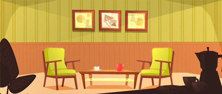 The interior of the cafeteria room. Retro design of the armchair and coffee table with mugs. Wooden furniture in a cafe.