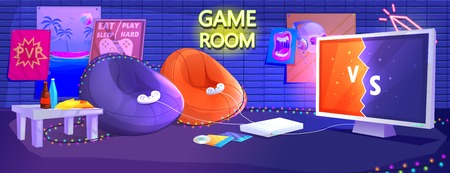 Game club room interior. Play video games on the console with comfortable armchairs and snacks for gamers. Vector cartoon illustration