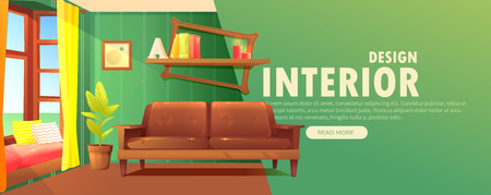 Interior design banner. Retro living room with a sofa and modern furniture and big window with a sun light. Vector cartoon illustration Illustration