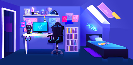 Gamer boy room on attic interior banner. Workplace cyber sportsman gamer. A desk with a computer and headphones and a mouse with light and a gamers chair.