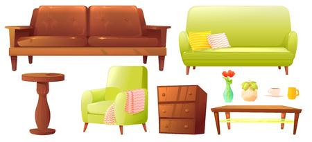 Set oggetto da soggiorno o camera da letto con divano in pelle e mensola in legno con cornice e libri. Mobili eleganti: una lampada, un vaso e un tavolo.